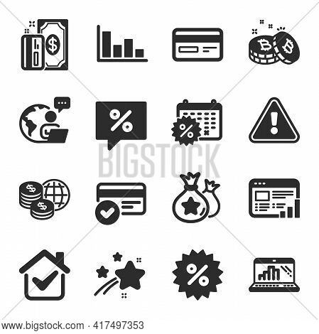Set Of Finance Icons, Such As Graph Laptop, Discount Message, Payment Methods Symbols. Discount, Cal