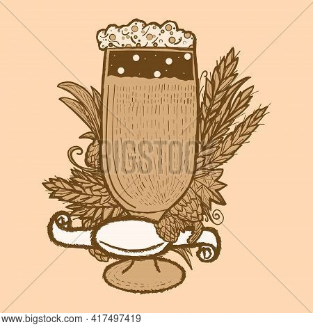 Beer Label In A Glass With Hops, Wheat Spikelets And Blank Ribbon. Retro Color, Sepia Sketch.
