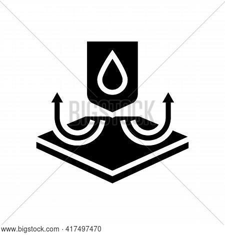 Waterproof Fabrics Properties Glyph Icon Vector. Waterproof Fabrics Properties Sign. Isolated Contou