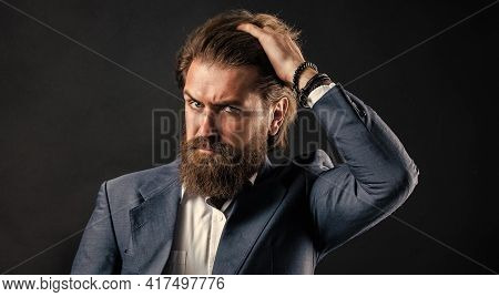 Confidence And Charisma. Handsome Man Wear Office Suit. Male Beauty And Fashion. Brutal Businessman