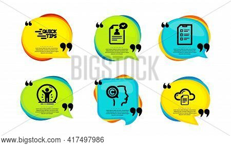Writer, Education And Resume Document Icons Simple Set. Speech Bubble With Quotes. Checklist, Recove