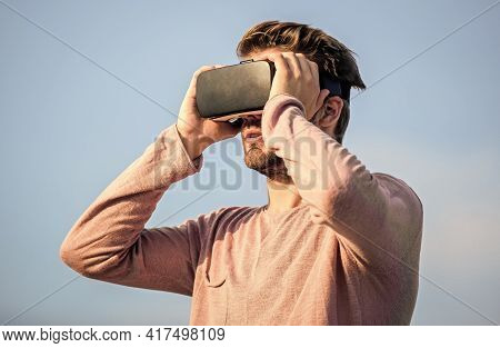 Guy Virtual Reality. In My Virtual World. Macho Man Wear Wireless Vr Glasses.. Male Reality. Future
