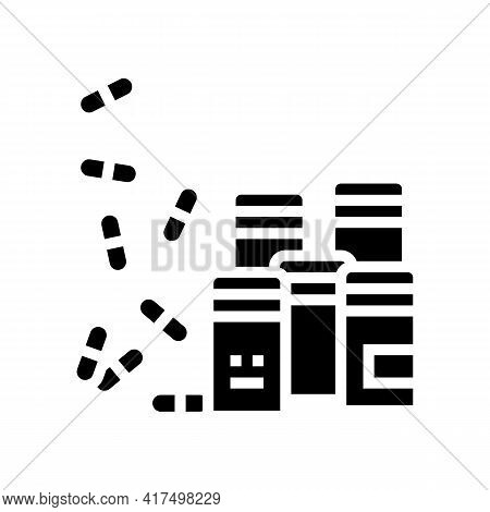 Pills Homeopathy Containers Glyph Icon Vector. Pills Homeopathy Containers Sign. Isolated Contour Sy