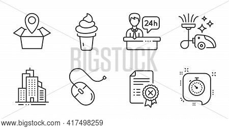 Vacuum Cleaner, Reject Certificate And Timer Line Icons Set. Ice Cream, Skyscraper Buildings And Com