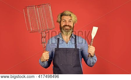 Hipster Dyed Beard Promoting Bbq Equipment. Cooking Healthy. Bbq Food. Culinary Concept. Tools Roast