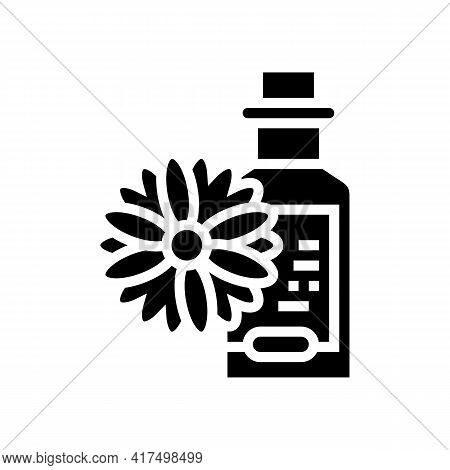 Chamomile Drink Homeopathy Liquid Glyph Icon Vector. Chamomile Drink Homeopathy Liquid Sign. Isolate