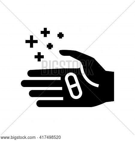 Hand Holding Homeopathy Pill Glyph Icon Vector. Hand Holding Homeopathy Pill Sign. Isolated Contour