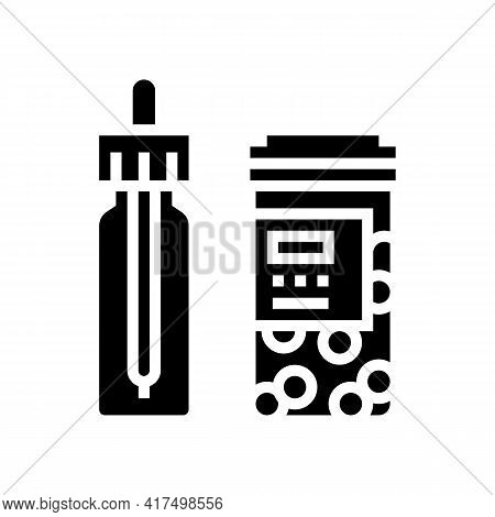 Vitamin Homeopathy Package With Pipette Glyph Icon Vector. Vitamin Homeopathy Package With Pipette S