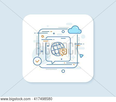 Friends World Line Icon. Abstract Vector Button. Friendship Love Sign. World Brand Ambassador Symbol