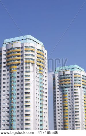 View Of The New Microdistrict In The City Of Minsk .architecture Of The City Of Minsk.the New Lighth
