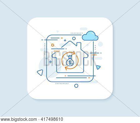 Cash Exchange Line Icon. Abstract Vector Button. Dollar Money Bag Symbol. Money Transfer Sign. Money