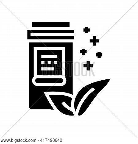 Natural Homeopathy Vitamin Or Medical Pills Packaging Glyph Icon Vector. Natural Homeopathy Vitamin