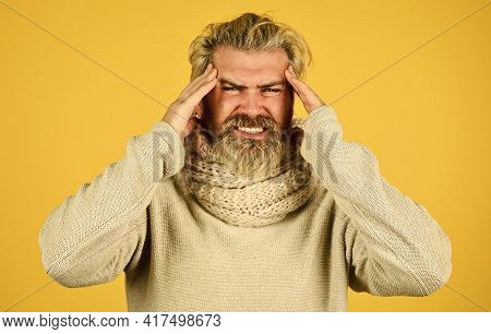 Brutal Male Get Flu In Winter. Warm Up With Knitwear. Bearded Hipster Sick. Coronavirus From China.