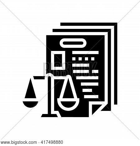 Bureaucracy Law Dictionary Glyph Icon Vector. Bureaucracy Law Dictionary Sign. Isolated Contour Symb