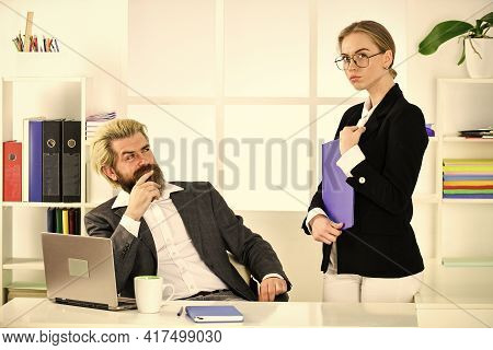 Build Career. Office Secretary. Business Couple Working. Couple In Office. Distribute Obligations An