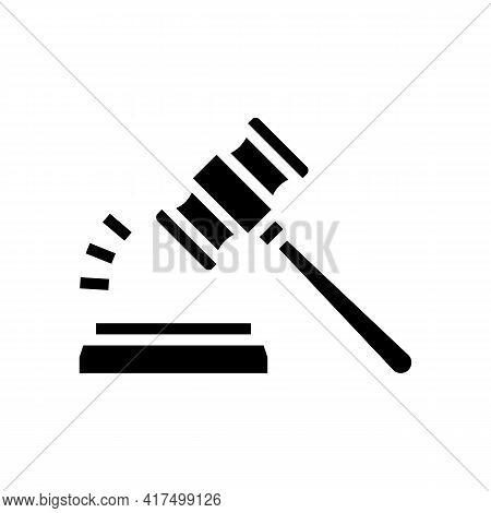 Judge Hammer Glyph Icon Vector. Judge Hammer Sign. Isolated Contour Symbol Black Illustration