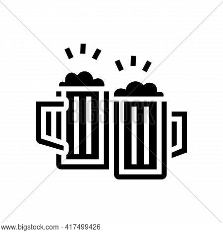 Drink Beer Mens Leisure Glyph Icon Vector. Drink Beer Mens Leisure Sign. Isolated Contour Symbol Bla