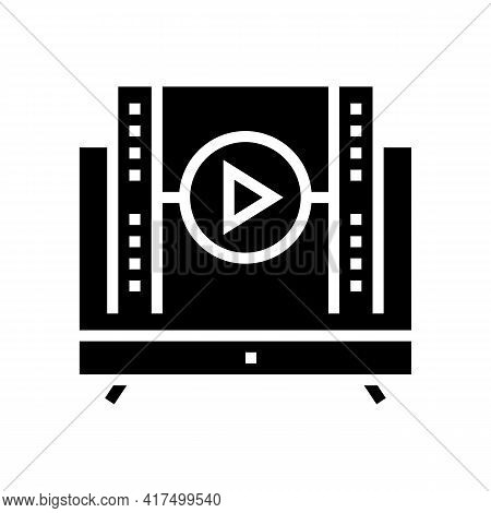 Watch Movie Mens Leisure Glyph Icon Vector. Watch Movie Mens Leisure Sign. Isolated Contour Symbol B