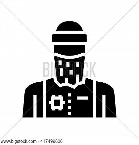 Man Refugee Glyph Icon Vector. Man Refugee Sign. Isolated Contour Symbol Black Illustration