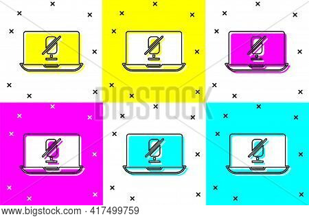 Set Mute Microphone On Laptop Icon Isolated On Color Background. Microphone Audio Muted. Vector