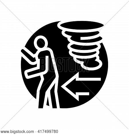 Escape From Hurricane Refugee Glyph Icon Vector. Escape From Hurricane Refugee Sign. Isolated Contou