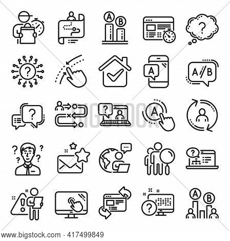 Ux Line Icons. Set Of Ab Testing, Journey Path Map And Question Mark Icons. Usability Quiz Test, Ux