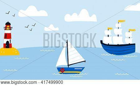 Ships In Sea Background. Cartoon Hand Drawn Colorful Sail Childish Horizontal Backdrop, Water Transp