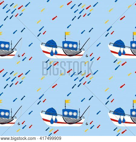 Fishing Boat Seamless Pattern. Cartoon Hand Drawn Colorful Sail Childish Collection, Water Transport