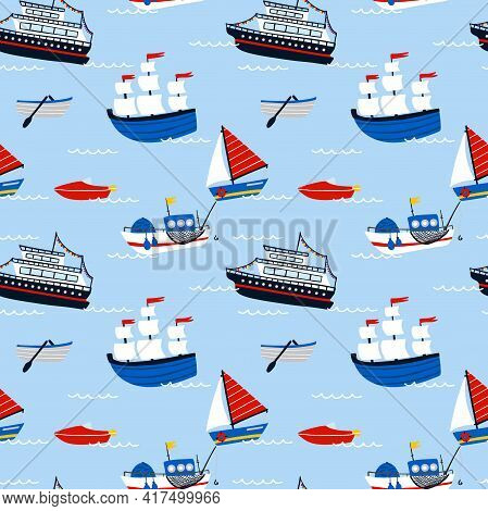 Ships And Boats Seamless Pattern. Cartoon Hand Drawn Colorful Sail Childish Collection, Water Transp