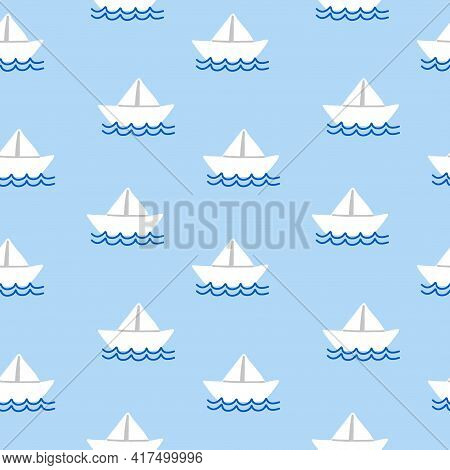 White Paper Ship Seamless Pattern. Cartoon Hand Drawn Colorful Sail Childish Collection, Water Trans