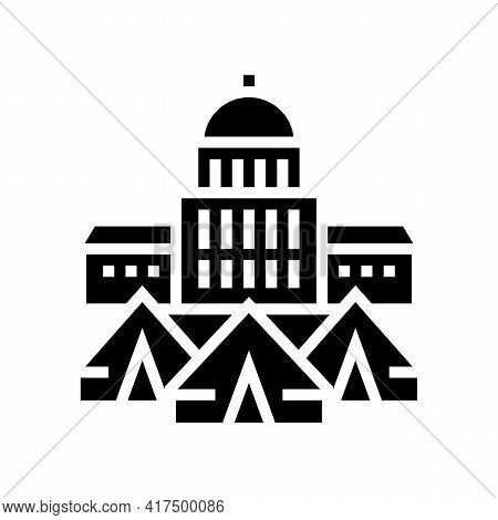 Government Building Refugee Campground Glyph Icon Vector. Government Building Refugee Campground Sig