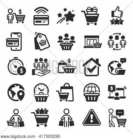 Buyer Customer Icons. Contactless Payment Card, Shopping Cart And Group Of People. Store, Buyer Loya