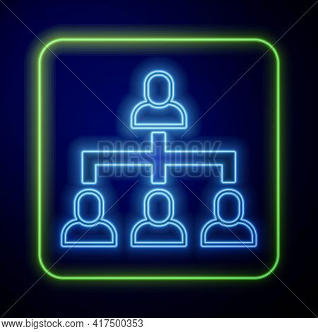 Glowing Neon Business Hierarchy Organogram Chart Infographics Icon Isolated On Blue Background. Corp