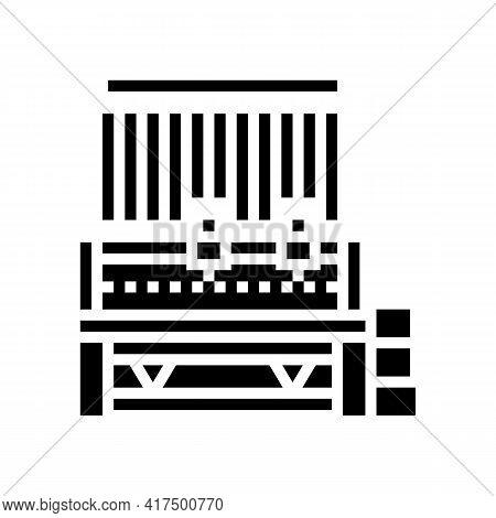Silk Production Machine Glyph Icon Vector. Silk Production Machine Sign. Isolated Contour Symbol Bla