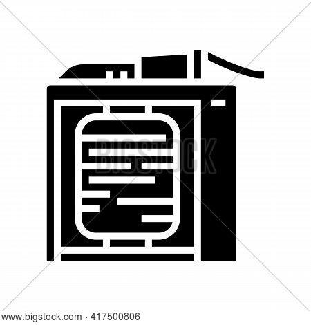 Silk Thread Roll Winding Process Glyph Icon Vector. Silk Thread Roll Winding Process Sign. Isolated