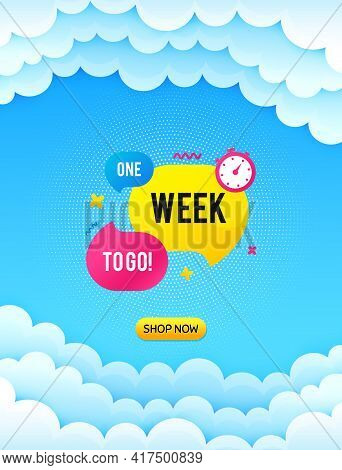 One Week Offer Bubble Banner. Cloud Sky Background With Offer Message. Discount Sticker Shape. Speci