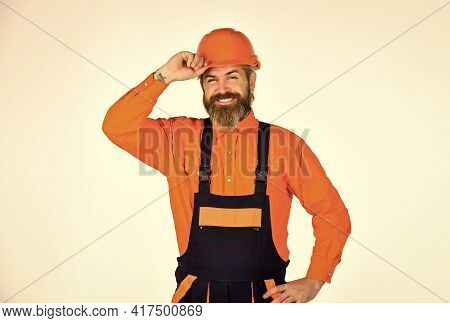 Repairman. Construction Worker. Renovation Concept. Mechanic Perform Technical Work. Bearded Mature