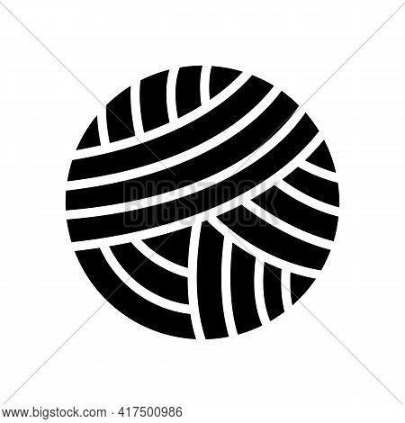 Knitting Ball Textile Glyph Icon Vector. Knitting Ball Textile Sign. Isolated Contour Symbol Black I