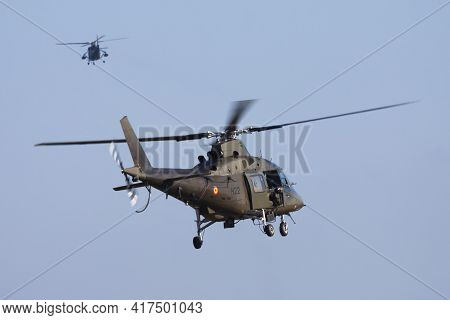 Kleine Brogel, Belgium - September 12, 2012: Military Helicopter At Air Base. Air Force Flight Opera