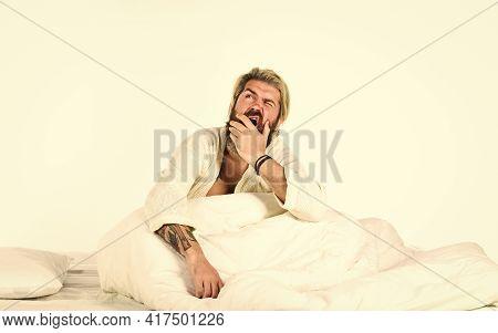 Enjoying Beautiful Morning. Guy In Bathrobe At The Bathroom. Handsome Man In The Morning. Bearded Ma