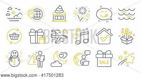 Set Of Holidays Icons, Such As Ice Cream, Love Night, World Travel Symbols. Snowman, Refresh Cart, S