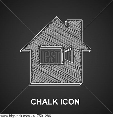 Chalk Video Camera Off In Home Icon Isolated On Black Background. No Video. Vector