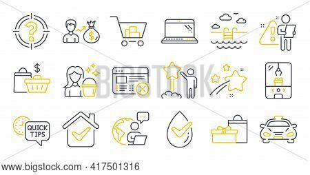 Set Of Business Icons, Such As Dermatologically Tested, Reject Web, Sallary Symbols. Sale Bags, Gift