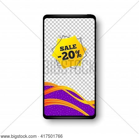 Sale 20 Percent Off Sticker. Phone Mockup Vector Banner. Discount Banner Shape. Coupon Bubble Icon.
