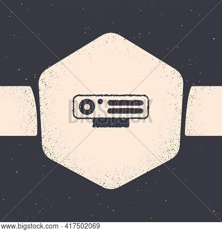 Grunge Web Camera Icon Isolated On Grey Background. Chat Camera. Webcam Icon. Monochrome Vintage Dra