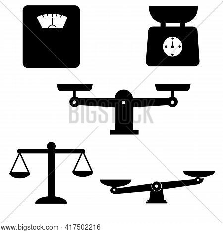 Scale And Weight Icons Set. Scales Of Justice Icon White Background. Weighing Machine Symbol. Law Sc