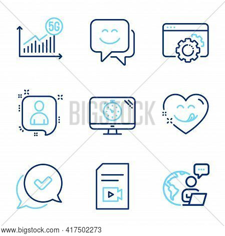 Technology Icons Set. Included Icon As Seo Gear, Approved, Video File Signs. Developers Chat, Smile