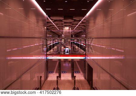 Finland. Helsinki. April 15, 2021 Modern Luxury Escalators With Stairs.\r   Electric Escalator In Th