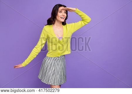 Photo Of Young Charming Pretty Love Happy Positive Girl Look Copyspace Sightseeing Isolated On Viole