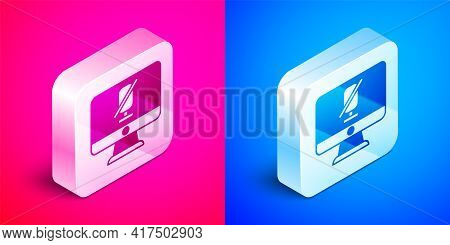 Isometric Mute Microphone On Computer Icon Isolated On Pink And Blue Background. Microphone Audio Mu